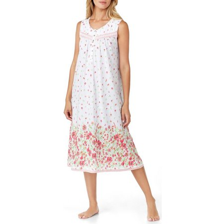 Aria Womens Long Floral Print Nightgown