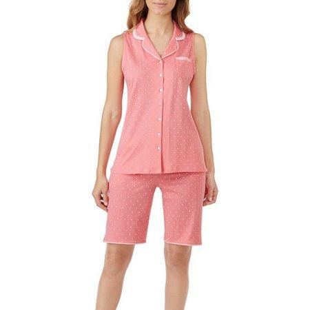 Aria Womens Polka Dot Bermuda Pajama Set