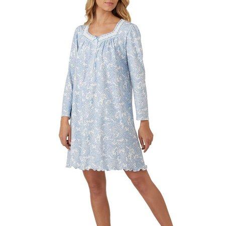 Aria Womens Long Sleeve Paisley Short Nightgown