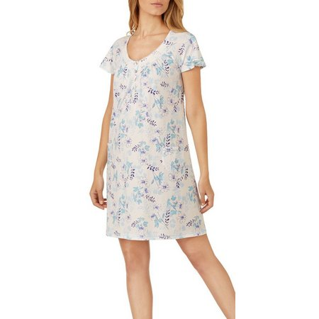 Aria Womens Floral Print Short Nightgown