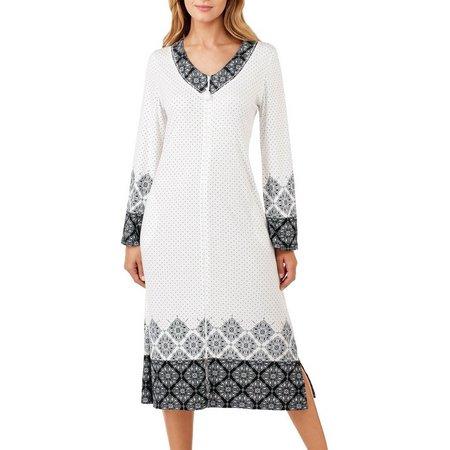 Aria Womens Long Diamond Print Zip Up Nightgown