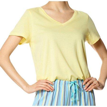 Hue Womens Short Sleeve Solid Pajama Top