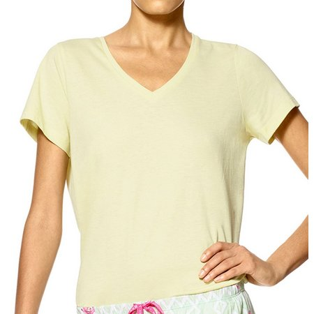 Hue Womens Solid Short Sleeve Pajama Top