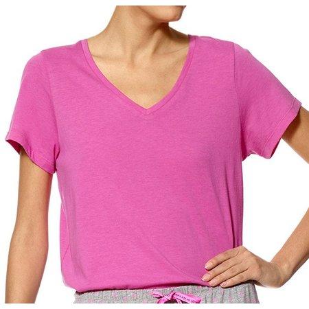 Hue Womens Short Sleeve V-Neck Solid Pajama Top