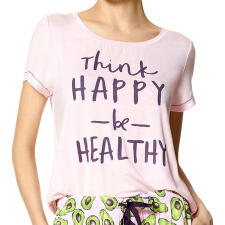 Hue Womens Think Happy Be Healthy Pajama Top