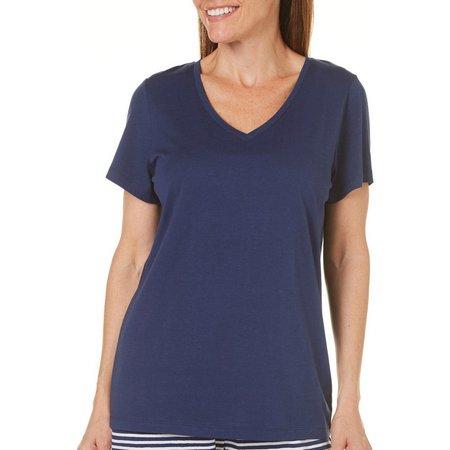 Hue Womens Solid V-Neck Pajama Top