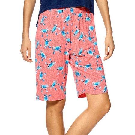 Hue Womens Crab Print Pajama Bermuda Shorts
