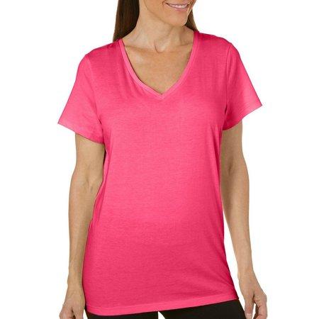 Hue Womens Short Sleeve Solid V-Neck Pajama Top
