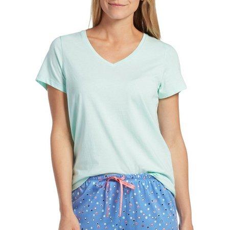 Hue Womens V-Neck Short Sleeve Pajama Top