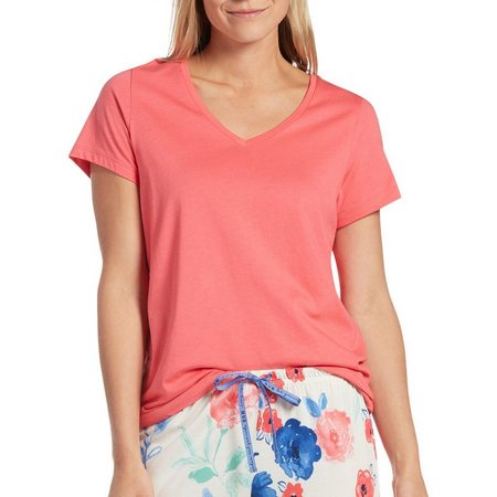 Hue Womens Solid V-Neck Short Sleeve Pajama Top