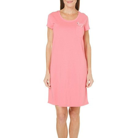 Coral Bay Womens Flamingo Pocket Nightgown