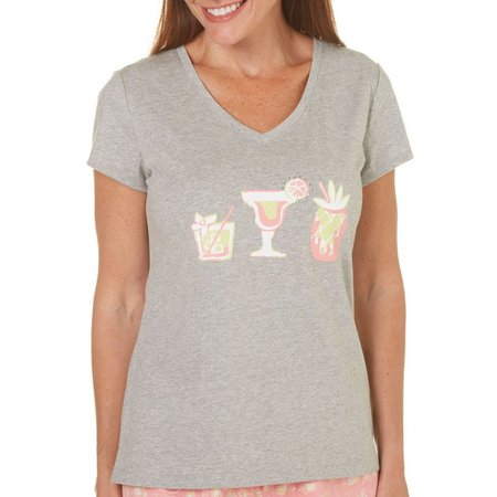 New! Coral Bay Womens Bling Cocktails Pajama Top