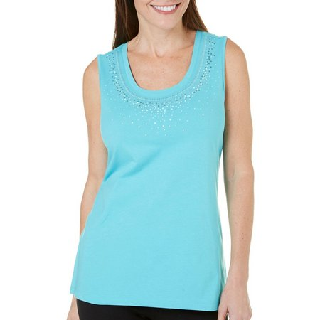Coral Bay Womens Embellished Pajama Tank Top