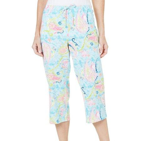 Coral Bay Womens Paisley Print Pajama Capris