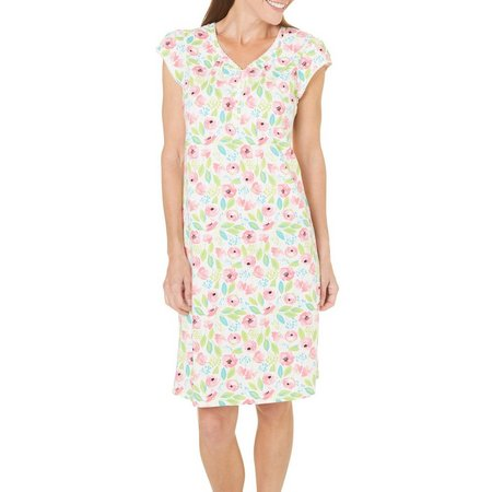 Coral Bay Womens Floral Henley Nightgown