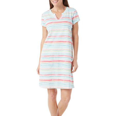 Coral Bay Womens Striped Split Neck Nightgown