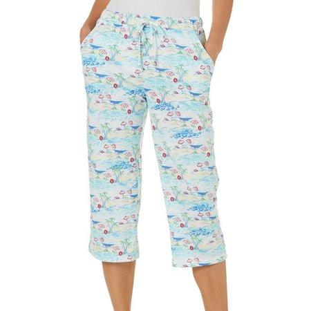 Coral Bay Womens Beach Umbrella Print Pajama Capris