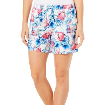 Coral Bay Womens Shell Swirl Pajama Shorts