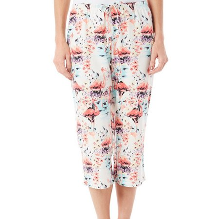 Coral Bay Womens Flamingo Print Pajama Capris