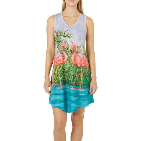 Amber Moran Womens Retro Flamingo Sleeveless Nightgown