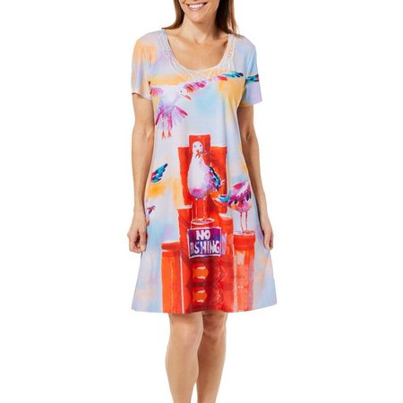 Ellen Negley Womens Sassy Seagulls Nightgown