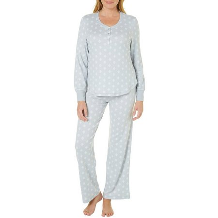 Bay Studio Womens Henley Leaf Pajama Set