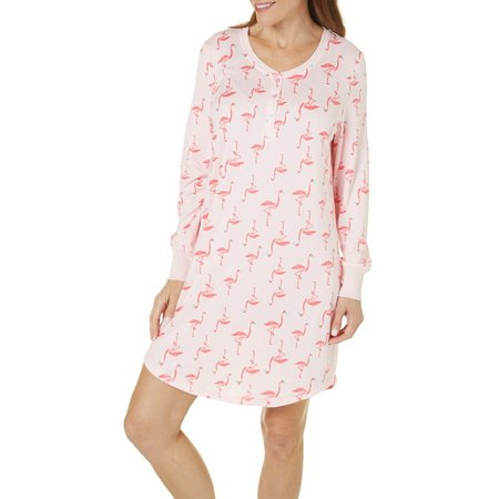 Bay Studio Womens Henley Flamingo Nightgown
