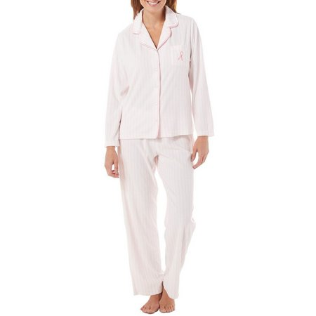 Jasmine Rose Womens Pink Ribbon Stripe Pajama Set