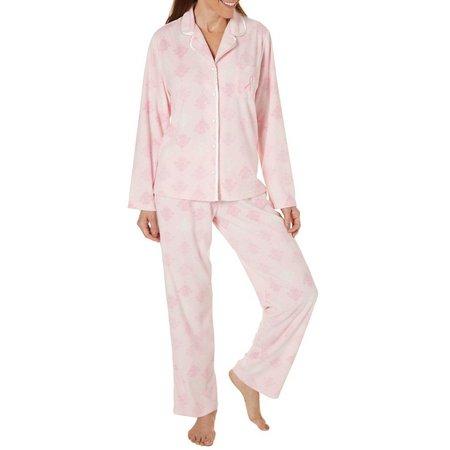 Jasmine Rose Womens Jeweled Pink Ribbon Pajama Set