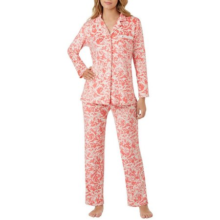 Ellen Tracy Womens Paisley Jewel Pocket Pajama Set