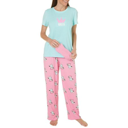 Hue Womens Queen Pajamas & Socks Gift Set