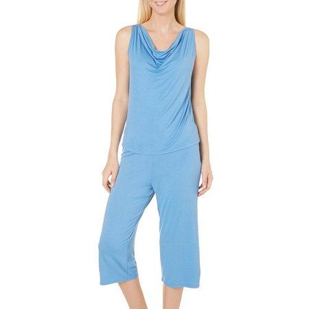 Jones New York Womens Cowl Pajama Capris Set