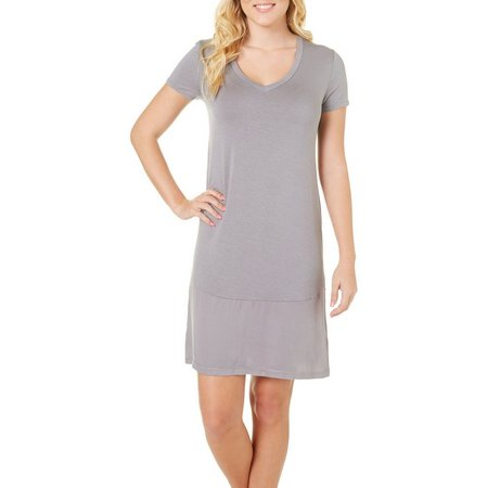 Jones New York Womens Solid V-Neck Nightgown