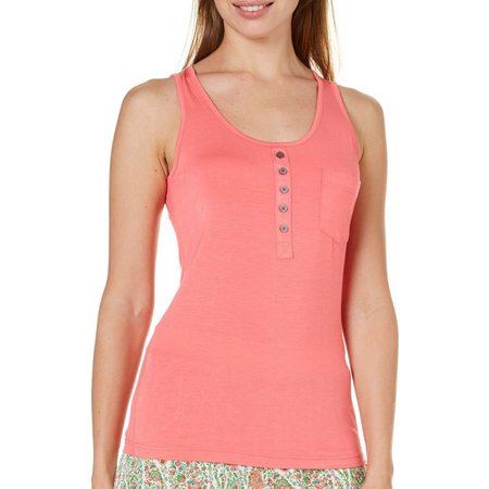 Echo Designs Womens Henley Pajama Tank Top
