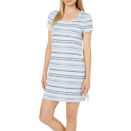 COOL GIRL Womens Stripe Pocket T-Shirt Nightgown