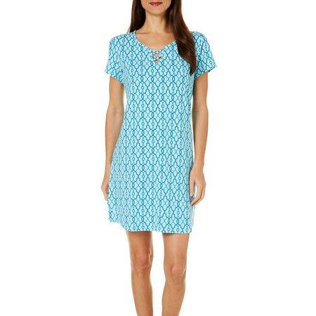 COOL GIRL Womens Lattice Print Crisscross Nightgown