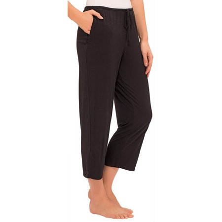 Ellen Tracy Womens Solid Pajama Capris