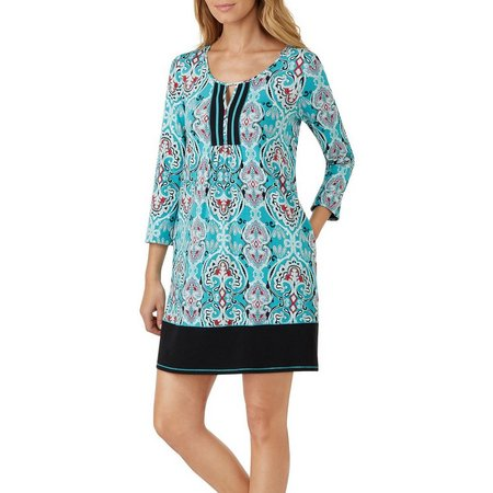 Ellen Tracy Womens Scroll Printed Tunic Nightgown