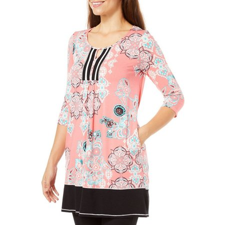 Ellen Tracy Womens Floral Medallion Tunic Nightgown