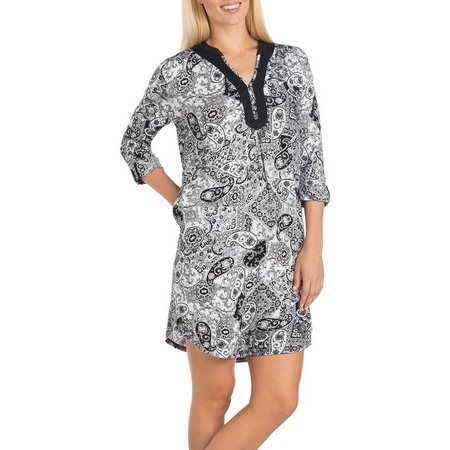 Ellen Tracy Womens Animal Print Tunic Nightgown