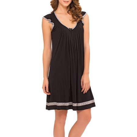 Ellen Tracy Womens Polka Dot Trim Nightgown