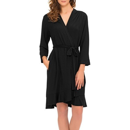 Ellen Tracy Womens Ruffle Robe