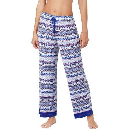Ellen Tracy Womens Geo Print Palazzo Pajama Pants