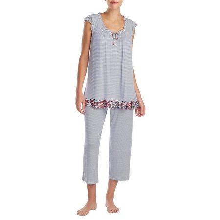 Ellen Tracy Womens Stripe Ruffle Hem Pajama Top