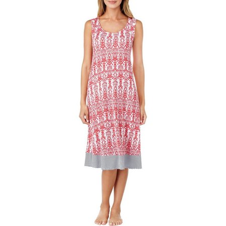 Ellen Tracy Womens Damask Print Ballet Nightgown