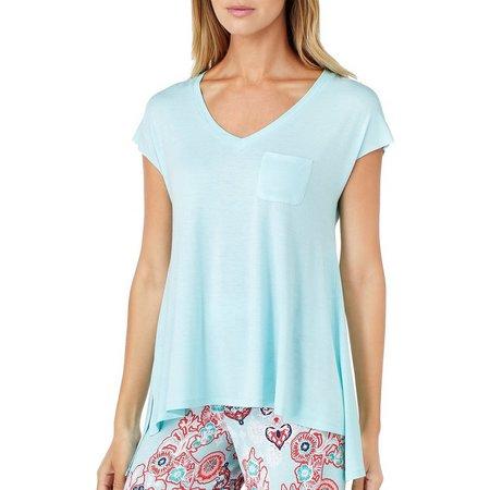 Ellen Tracy Womens Solid Pocket Pajama Top