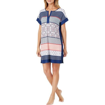 New! Ellen Tracy Womens Mixed Print Tunic Nightgown
