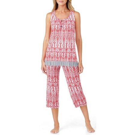 Ellen Tracy Womens Damask Print Pajama Set