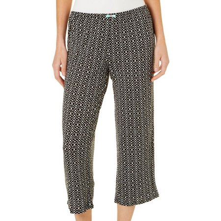 Ellen Tracy Womens Geometric Pajama Capris