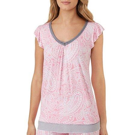 Ellen Tracy Womens Paisley Print Pajama Top